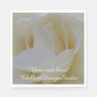 White Rose Close Up Paper Napkins