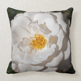 White Rose Cotton Throw Pillow 20 x 20