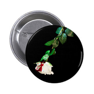 White rose covered with blood 6 cm round badge