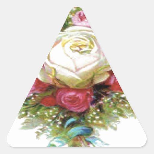 White Rose Design Triangle Stickers