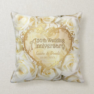 White Rose Elegance - 50th Wedding Anniversary Throw Cushion