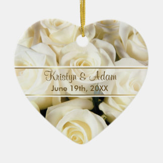 White Rose Elegance - Customize Ceramic Heart Decoration