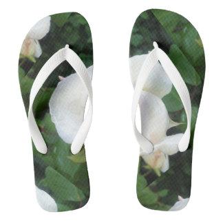 white rose flip flops