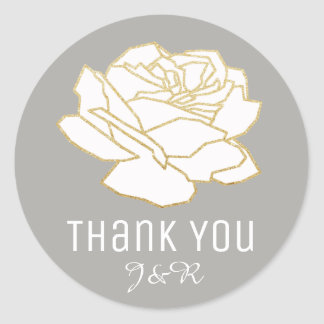 white rose flower, thank you classic round sticker
