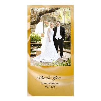 White Rose Flower Wedding Thank You Photo Card