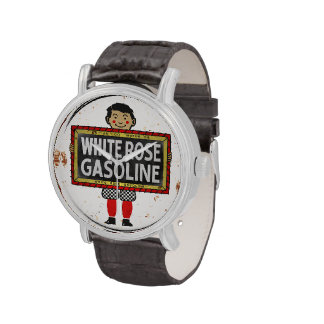 White Rose Gasoline. Boy with slate vintage sign. Wristwatch