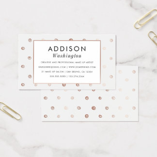 White & Rose Gold Hand-drawn Polka Dots Business Card