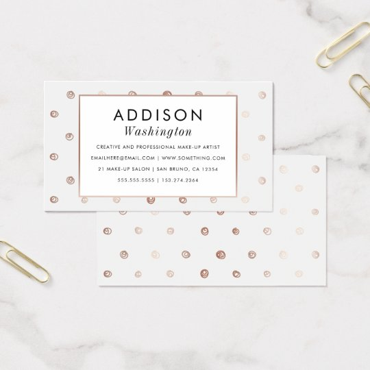 White & Rose Gold Hand-drawn Polka Dots Business