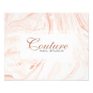 White & Rose-Gold Marble Swirls Menu List 11.5 Cm X 14 Cm Flyer