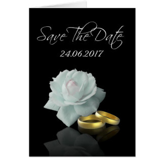 White Rose Gold Rings Save the Date Greeting Card