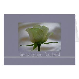 white rose grey german sympathy card