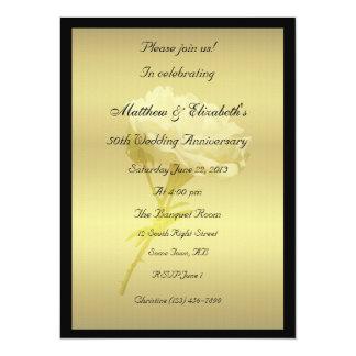 White Rose in Golden Hues Anniversary 14 Cm X 19 Cm Invitation Card