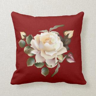 White Rose (maroon) Throw Pillow