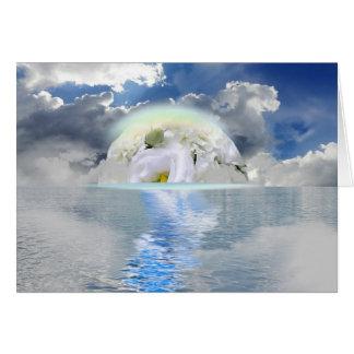 White Rose Moon Floating Through Ocean Fantasy Card