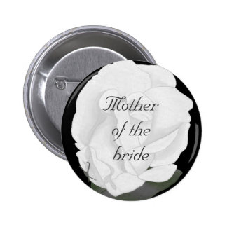 White rose, mother of the bride pin on button
