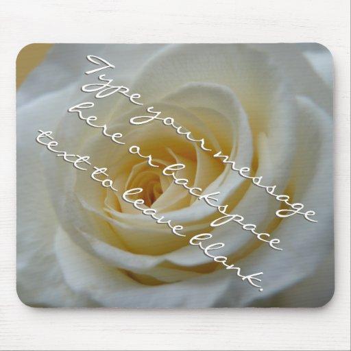White Rose Mousepad Personalized Rose Mousepad
