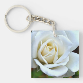 White Rose of Love Double-Sided Square Acrylic Keychain