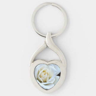 White Rose of Love Silver-Colored Heart-Shaped Metal Keychain