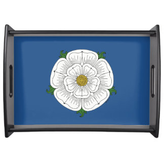 White Rose of York (on blue) Serving Tray