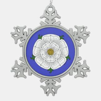 White Rose of York Pewter Snowflake Decoration