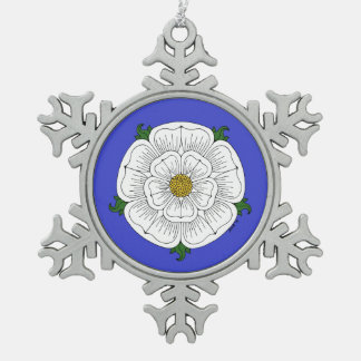 White Rose of York Snowflake Pewter Christmas Ornament