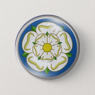White Rose of Yorkshire Flag 6 Cm Round Badge