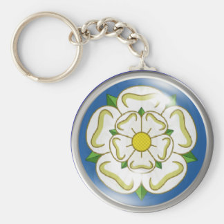 White Rose of Yorkshire Flag Basic Round Button Key Ring