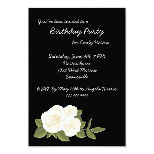 White Rose on Black Birthday Invitation