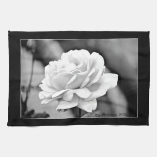 """White Rose on Black"" Kitchen Towel"