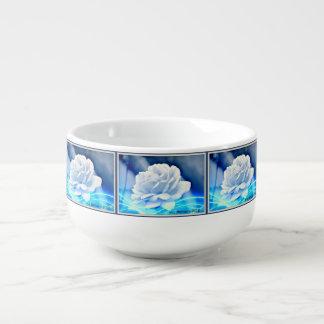 White Rose on Blue Soup Mug