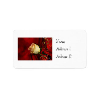 White rose on red background address label