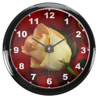 White rose on red background aquavista clocks