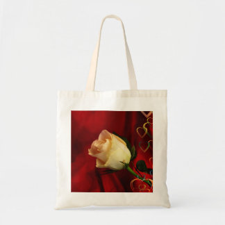 White rose on red background bag