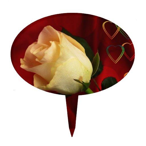 White rose on red background cake topper