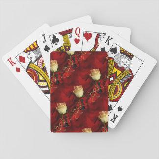 White rose on red background card deck