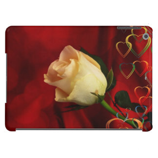 White rose on red background iPad air covers