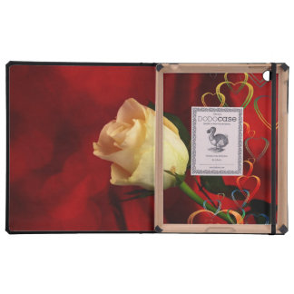 White rose on red background iPad cases