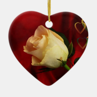 White rose on red background ceramic heart decoration