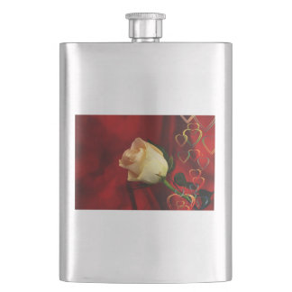 White rose on red background hip flasks