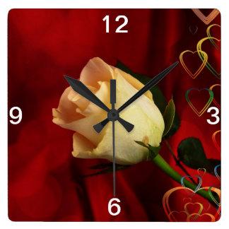 White rose on red background square wallclock