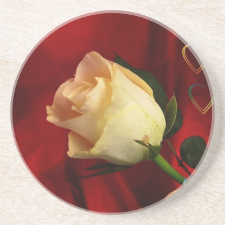White rose on red background coaster