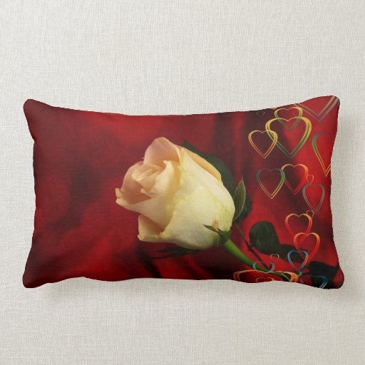 White rose on red background throw pillow