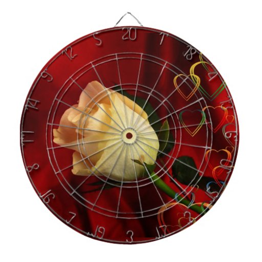 White rose on red background dartboard