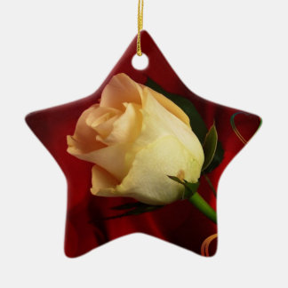 White rose on red background Double-Sided star ceramic christmas ornament