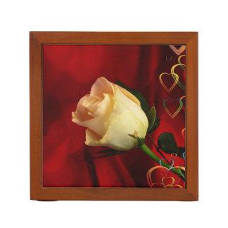 White rose on red background Pencil/Pen holder