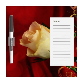 White rose on red background dry erase whiteboards