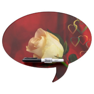 White rose on red background dry erase boards