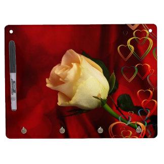 White rose on red background dry erase whiteboard