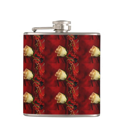 White rose on red background flasks