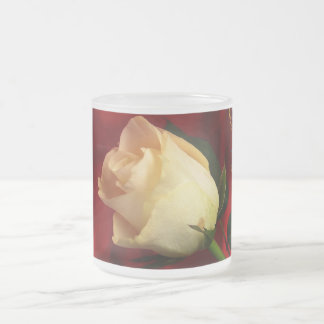White rose on red background frosted glass coffee mug